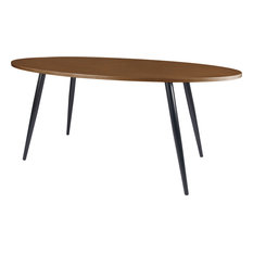 Diamond Sofa   Sierra Oval Dining Table With Walnut Top And Black Powder  Coated Legs,