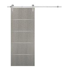 Barn Door 36 x 80 & Stainless Steel 6.6ft Hardware | Planum 0020 Grey Oak
