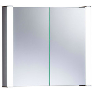 Bathroom Storage Cabinet With Double Mirrored Doors LED Lights and Sensor Switch
