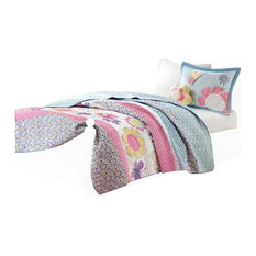 Printed Micro Quilt Set, Multi, Twin