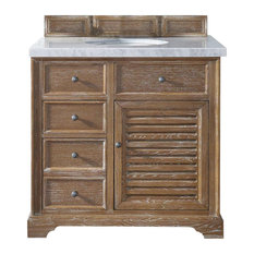 "Savannah 36"" Driftwood Single Vanity w/ 4cm Carrara White Marble Top"