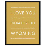 """HopSkipJumpPaper - I Love You From Here To Wyoming Art Print, Harvest, 11x14"""" - Celebrate your love for your favorite state: Wyoming!"""