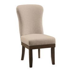 Acme Landon Side Chairs, Beige Linen and Salvage Brown, Set of 2