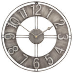 """Studio Designs Home - Industrial Loft Metal Wall Clock, Brushed Steel, 15"""" - The 15"""" Industrial Loft Metal Wall Clock features a bold frame forged from sturdy iron. Perfectly sized for a kitchen or bedroom, it is a timepiece that will grab everyone""""s attention.  The raised Arabic numerals and artfully designed metal hands make both its style and construction a unique addition to your home. The ornate hour and minute hands move with an accurate quartz movement.  The antiqued finish completes the rustic d""""cor of your home.  Requires one AA alkaline battery (not included). Also Available in a large 30"""" face (Item # 73003, 73006 and 73007)."""