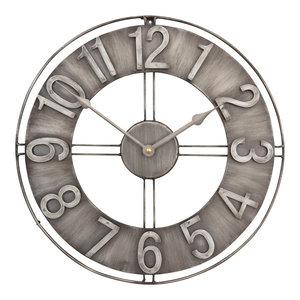 """Industrial Loft Metal Wall Clock, Brushed Steel, 15"""""""