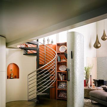 Midcentury Moroccan Loft Spiral Stairs | Kimball Starr Interior Design