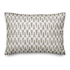 Taupe Geo Triangles 14x20 Outdoor Throw Pillow