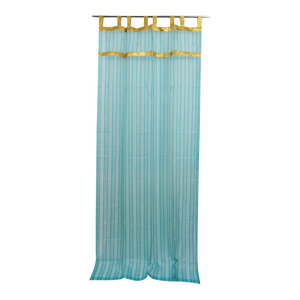 "mogulinterior - 2 Sheer Organza Curtain Turquoise Golden Sari Border Drapes Panels, 48x108"" - Curtains"