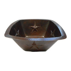 """15"""" Square Copper Kitchen Bar, Wet Bar Sink with  Texas STARS"""