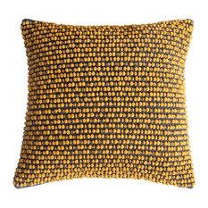 Cambo Pompom Accent Cushion, Ochre