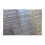 "Stainless Steel Random Strips Mosaic Tile, 12""x12"""