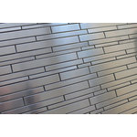 """Rocky Point Tile Co - Stainless Steel Random Strips Mosaic Tile, 12""""x12"""" - Make a bold statement in your kitchen with a stainless steel backsplash from Rocky Point Tile. Use these tiles over an entire wall or as a poppy accent in your next renovation! Tile pieces vary in length and make a great random mosaic."""