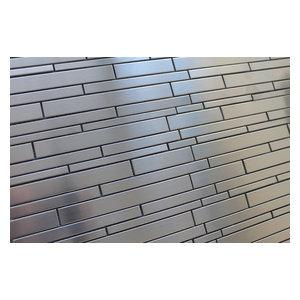 "Stainless Steel Random Strips Mosaic Tile, 12""x12"""