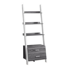 Bookcase Ladder With 2 Storage Drawers, Gray/White