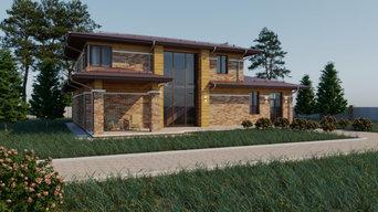Двухэтажный дом из кирпича в стиле архитектора Ф.Л. Райта
