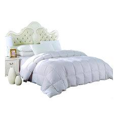 Oversized Damask Stripe White Down Comforter, White, Full/Queen