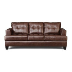 Bowery Hill Faux Leather Tufted Sofa In Dark Brown