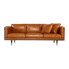 Kardiel   Kardiel Woodrow Lush Midcentury Modern Sofa, Aniline Leather,  Walnut/Tan