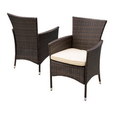 GDFStudio - Clementine Outdoor Multibrown Pe Wicker Dining Chairs, Set of 2 - Outdoor Dining Chairs