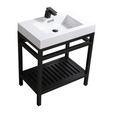 Cisco 30-inch Stainless Steel Console With Acrylic Sink Chrome Black