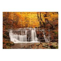 "Waterfall Photo Bathroom Shower Tile Mural 2078, 36""x24"""