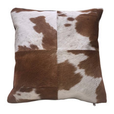 Brown and White Cowhide Pillow Heifer, Double Sided Leather Pillow