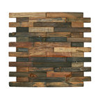 "12""x12"" Reclaimed Boat Wood Tile, Interlocking Bricks"