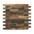 "12""x12"" Reclaimed Boat Wood Tile, Interlocking Bricks"