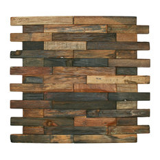 "Colin Locke - 12""x12"" Reclaimed Boat Wood Tile, Interlocking Bricks - Mosaic Tile"