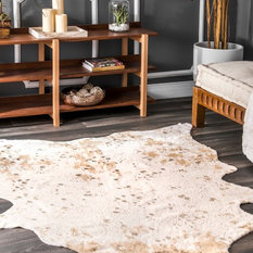 """nuLOOM - nuLOOM Animal Print Macchiato Faux Cowhide Area Rug, Off-White, 3'10""""x5' - Novelty Rugs"""