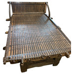 Mogul Interior - Consigned Antique Oxcart Daybed, Teak Iron Brass Patio DAYBED Handmade Wood Bed - Beautiful Rustic oxcart reclaimed daybed, handmade and unique Very beautifully detailed and a masterpiece, absolutely magnificent. Hardwoods with iron straps and brass ornamentation makes this a unique piece.