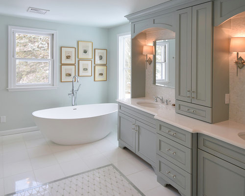 Brentwood master bath cabinets in Maple Rain - Bathroom Cabinets