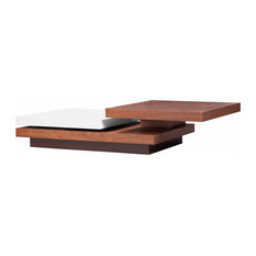 Two Tone Walnut And White Hi-Gloss Three Tiered Motion Coffee Table
