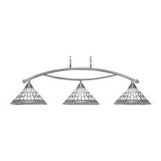 """Bow 3 Light Bar In Brushed Nickel, 16"""" Pewter Tiffany Glass"""