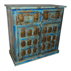 Mogul Interior - Consigned Buddha Carving Antique Media Console - Media Cabinets