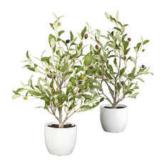 "18"" Olive Silk Tree With Vase, Set of 2"