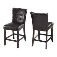 Modus Furniture International Bossa Counter Height Parsons Stool in Black Leatherette Set of 2