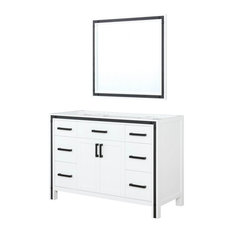 48 Inch White Single Vanity With No Top And 34 Inch Mirror