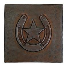 """Horse Shoe/Star Design Hammered Copper Tile, 12""""x12"""""""