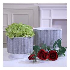 "Sagebrook Home Ceramic Planter 8.5"", Gray/Marble"