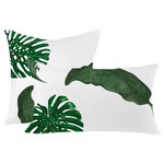 Huddleson - Tropical Leaves Green White Linen Decorative Throw Pillow Cover, 20x20 - Decorative pure linen throw pillow with a sublime watercolor print of monsera and palm leaves in rich shades of dark green. Medium weight fine Italian linen. Clean knife-edge finishing with invisible zipper. Machine washable. Inserts sold separately.  Also available in size 12�x21 and 18�x18�. Search again! Sold individually.