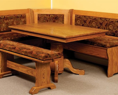 amish traditional breakfast nook set with storage and pedestal table dining benches amish breakfast nook set