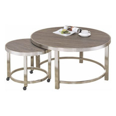 Contemporary Metal Frame and Wooden Coffee Table, Pack of Two, Brown and Silver