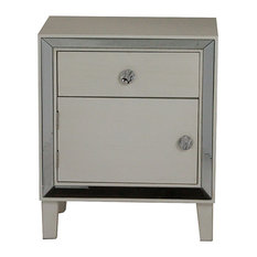 Antique White Wood Accent Cabinet With A Door A Drawer And Clear Mirrored Glass