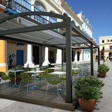 Prato model retractable pergola patio and deck cover system