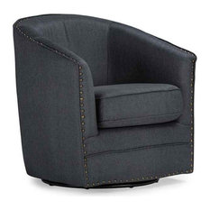 Porter Classic Retro Swivel Tub Chair in Gray Fabric