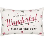 "VHC Brands - Emmie Wonderful Time 14""x22"" Pillow - The 14x22 Emmie Wonderful Time Pillow features classic lyrics ""It's the most Wonderful time of the year"" in beautiful typography. Red and green snowflakes of various size on a bright white cotton background create a snowfall effect. 100% cotton shell with polyester fill."