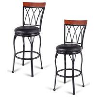 Set of 2 Adjustable Seat Height Swivel Bar Stools