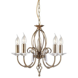 Traditional Aged Brass 5-Arm Chandelier With Glass Droplets