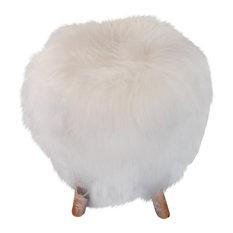 Icelandic Sheepskin Stool, White